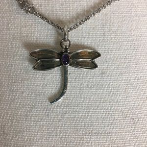 Jewelry - Dragonfly sterling silver charm with amethyst